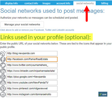 Social Network Links for Your eMessages